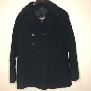 Jones New York wool and cashmere blend pea coat, black, size 12